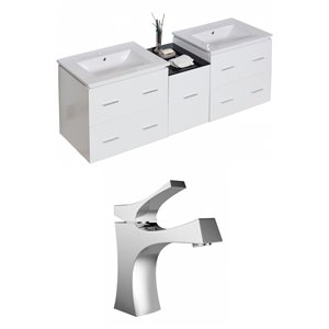"American Imaginations Xena Vanity Set  - Double Sink - 61.5"" - White"