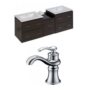 "American Imaginations Xena Vanity Set  - Double Sink - 61.5"" - Gray"