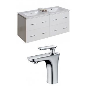 """American Imaginations Xena Vanity Set  - Double Sink - 48"""" - White - With 2 Faucets"""
