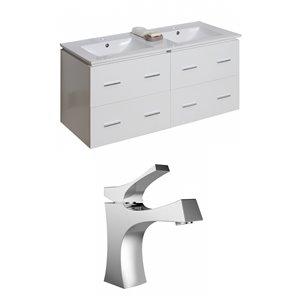 "American Imaginations Xena Vanity Set  - Double Sink - 48"" - White"