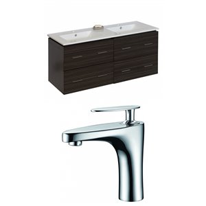 "American Imaginations Xena Vanity Set  - Double Sink - 48"" - Gray"