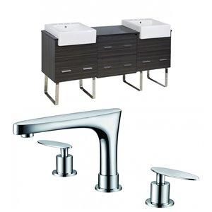 "American Imaginations Xena Farmhouse Vanity Set  - Double Sink - 73.5"" - Gray"