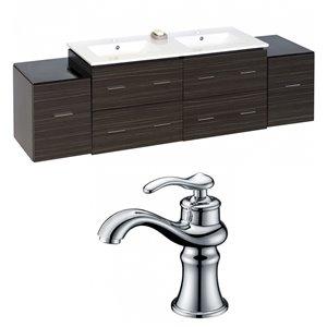 "American Imaginations Xena Vanity Set  - Double Sink - 75.5"" - Gray"