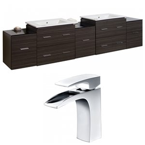 "American Imaginations Xena Vanity Set  - Double Sink - 89.5"" - Gray"