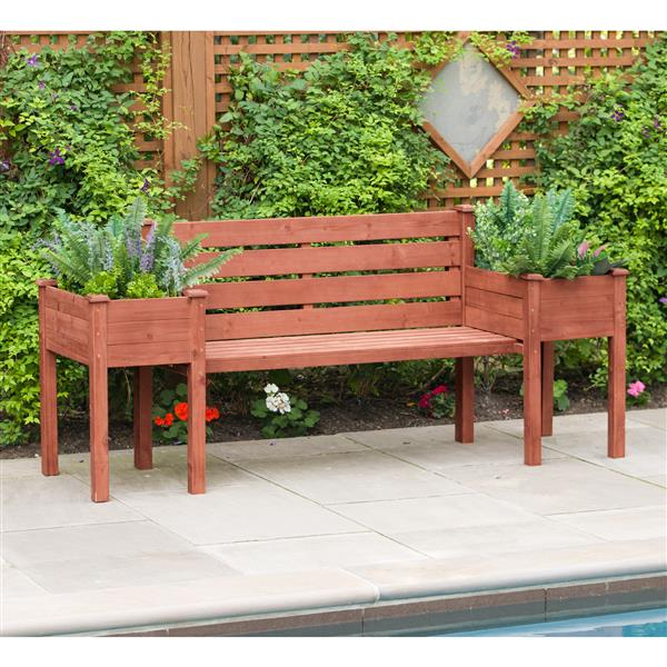 Leisure Season Wooden Bench With Planters 79 X 20 X 38 Lowe S Canada