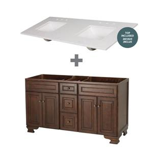 "Foremost Hawthorne Vanity Combo - 61"" x 34.75"" - Brown"