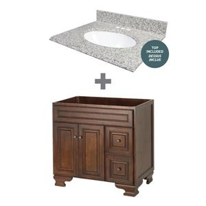 "Foremost Hawthorne Vanity Combo - 37"" x 34.75"" - Brown"