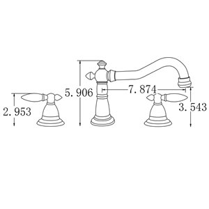"""American Imaginations Faucet Set - Widespread - 3.54"""" - Brass - Chrome"""