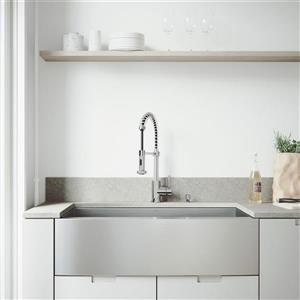 VIGO Stainless Steel Kitchen Sink - With Grid And Strainer - 36-in