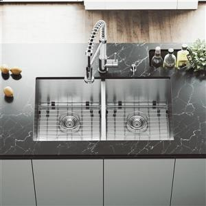 VIGO Stainless Steel Kitchen Sink - Grids and Strainers - 32-in