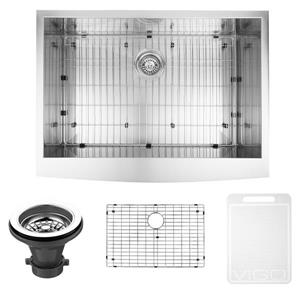 VIGO Stainless Steel Kitchen Sink - Grid and Strainer - 30-in