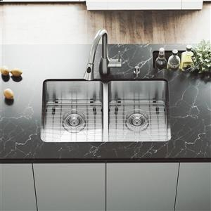 VIGO Kitchen Sink - Two Grids - Two Strainers - 29-in x 18-in