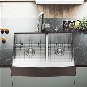 VIGO Kitchen Sink With Faucet - Two Grids - Two Strainers - 33-in