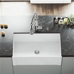 VIGO Front Matte Stone Farmhouse Kitchen Sink - 30-in