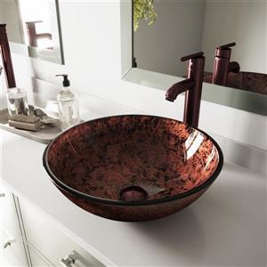 VIGO Glass Vessel Bathroom Sink with Faucet - Mahogany Moon