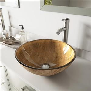 VIGO Glass Vessel Bathroom Sink with Faucet - Amber