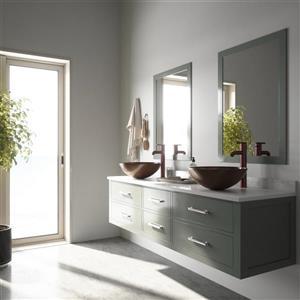 VIGO Glass Vessel Bathroom Sink with Faucet - Russet