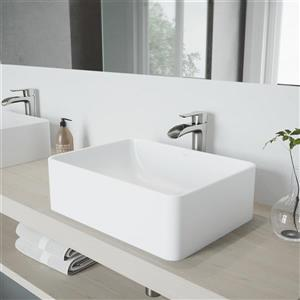 Amaryllis Matte Stone Vessel Sink and Niko Faucet Set with Pop-up Drain