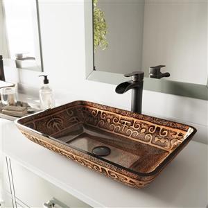 Vigo Glass Vessel Bathroom Sink With Faucet - Rectangular