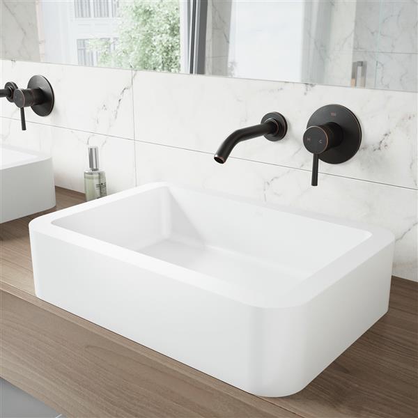 Vigo Vessel Bathroom Sink With Wall, Wall Mounted Faucet Bathroom