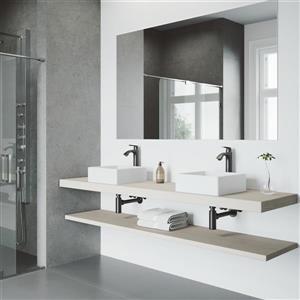 Vigo Vessel Bathroom Sink and Vessel Faucet - White