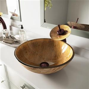 Vigo Glass Vessel Bathroom Sink and Waterfall Faucet - Amber