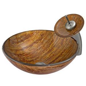 Vigo Glass Vessel Bathroom Sink and Waterfall Faucet - Amber