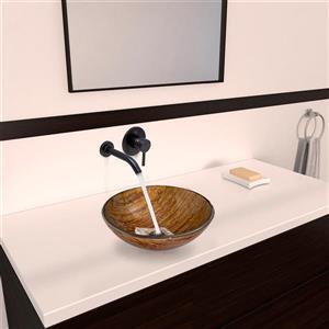 Vigo Glass Vessel Bathroom Sink with Wall Mount Faucet
