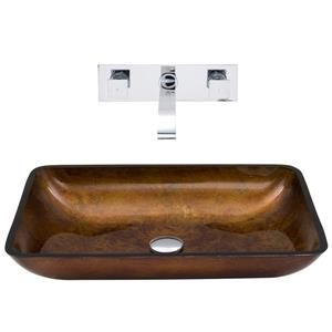 VIGO Glass Vessel Bathroom Sink with Wall Mount Faucet - 22-in