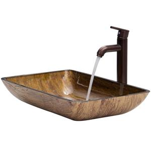 Vigo Glass Vessel Bathroom Sink with Vessel Faucet - 22-in