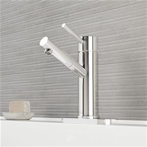 Vigo Single Hole Bathroom Faucet With Deck Plate - Chrome
