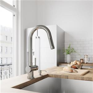 VIGO Gramercy Pull-Down Kitchen Faucet - Stainless Steel