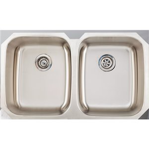 """American Imaginations Undermount Double Sink - 38.62"""" x 20.5"""" - Stainless Steel"""