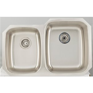 """American Imaginations Undermount Double Sink - 32.12"""" - Stainless Steel - Chrome"""