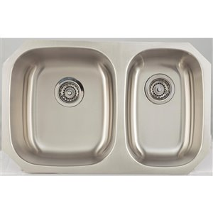 "American Imaginations Undermount Double Sink - 28.25"" x 18"" - Stainless Steel"