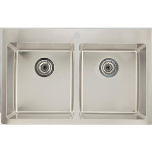 """American Imaginations Double Sink - 31.75"""" x 20.25"""" - Stainless Steel"""