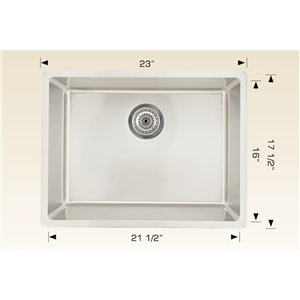 """American Imaginations Single Sink - 23"""" - Stainless Steel - Chrome"""