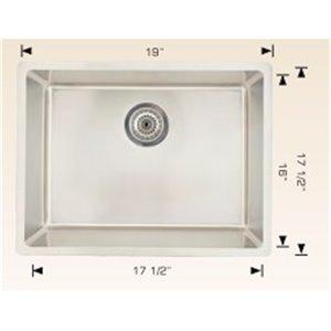 "American Imaginations Undermount Single Sink - 19"" x 17.5"" - Stainless Steel"
