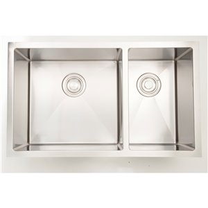 """American Imaginations Undermount Double Sink - 33"""" - Chrome"""