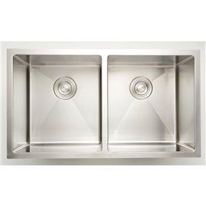 American Imaginations Double Sink - 32-in - Stainless Steel