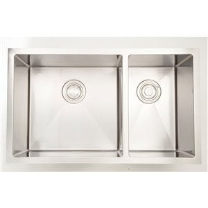 "American Imaginations Undermount Double Sink - 28"" x 18"" - Stainless Steel"