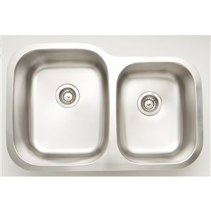 "American Imaginations Undermount Double Sink - 29.62"" - Stainless Steel"