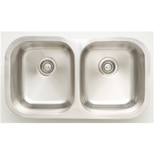"American Imaginations Double Sink - 29.5"" - Stainless Steel - Chrome"