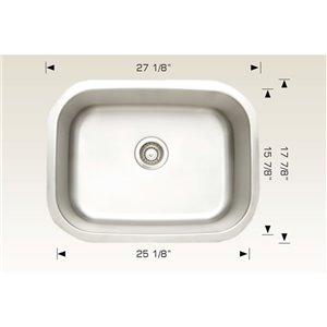 "American Imaginations Undermount Single Sink - 27.12"" - Stainless Steel"