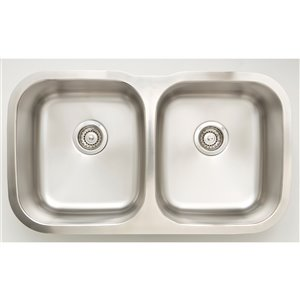 """American Imaginations Undermount Double Sink - 31.25"""" x 18"""" - Stainless Steel"""
