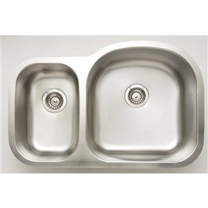 "American Imaginations Undermount Double Sink - 31.3"" x 20.5"" - Stainless Steel"