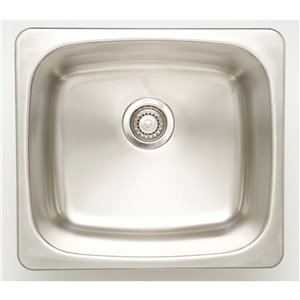 """American Imaginations Single Sink - 20"""" x 18"""" - Stainless Steel - Chrome"""