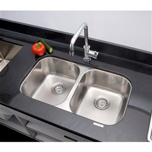 "American Imaginations Double Sink - 29.5"" - Stainless Steel"