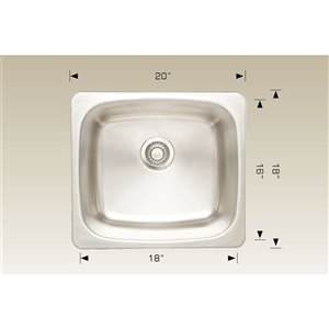"""American Imaginations Single Sink - 20"""" x 18"""" - Stainless Steel"""