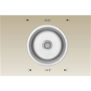 """American Imaginations Undermount Sink - 16.5"""" x 16.5"""" - Stainless Steel"""